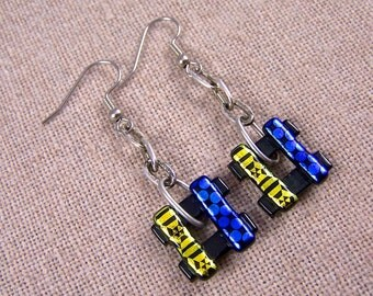 Dichroic Earrings - Cobalt Blue Golden Yellow Patterned Fused Glass - Dangle Weave Square Diamonds - Surgical Steel French Wire or Clip On