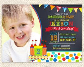 Bounce House Birthday invitations - Bouncy House - Castle - Boy - Girl