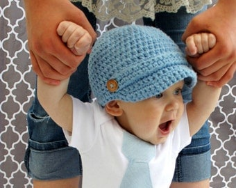 Newsboy Hat Visor Brim Cap Buttons Band Cotton Made to Order Light Blue -The Buttoned Too-