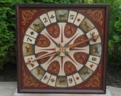Primitive Wood Roulette Game Board Folk Art Derby Horse Gameboard
