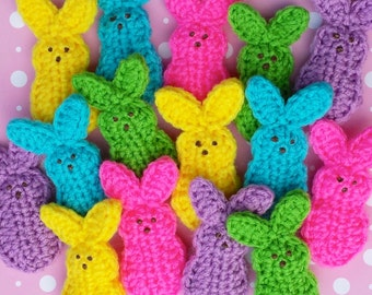 5 crocheted  bunnies in 5 different HOT colors. Bunnies for your Easter fun. Easter basket.