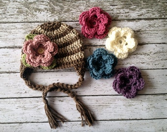 Stripe Flower Beanie in Oatmeal and Barley with Five Interchangeable Flowers Available in Newborn to 5 Year Size- MADE TO ORDER