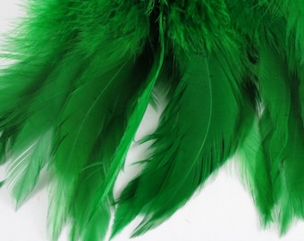 green  feathers Strung Schlappen Dyed 6 to 8 inches  SCH-01 fascinators embellishments craft feathers