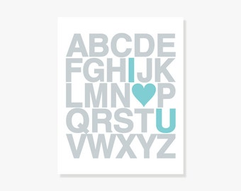 I Love You Alphabet Poster - Nursery Decor Kids Wall Art Modern Typographic Poster Print