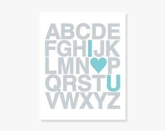 I Love You ABC Poster - Nursery Alphabet Decor Kids Wall Art Modern Typographic Poster Print
