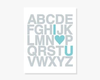 Alphabet ABC Poster - Nursery ABC Alphabet Decor Kids Wall Art Poster Print I Heart U
