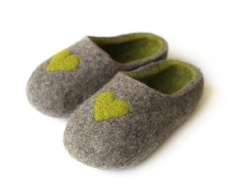 Hand Felted Slippers for Everyone. Wedding Gift. Gray with Green Hearts Decor and green inside.