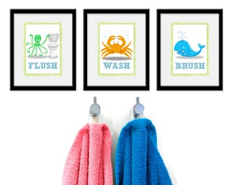 Bathroom Sea theme Kids Art - Set of Three 5 x 7 Bathroom Decor Prints -Sea Theme kids decor, children wall art, bathroom art, kids bathroom