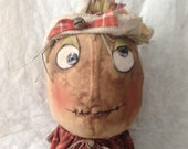 Primitive Fall Scarecrow Doll  on Rusty Spring HandMade Ooak Ready To Ship OFG Team FAAP Team