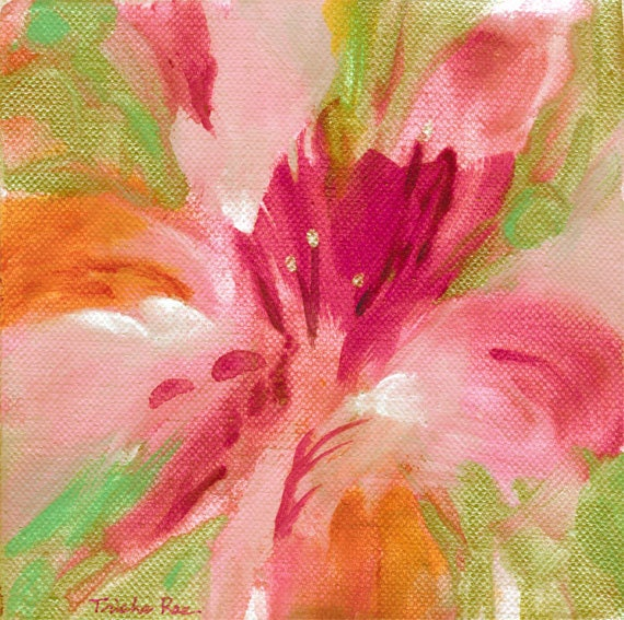 Original abstract flower painting bright acrylic colors for Bright flower painting
