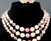 Beautiful Multi Strand Necklace and Earrings Signed Japan, Faux Pearl, Pink