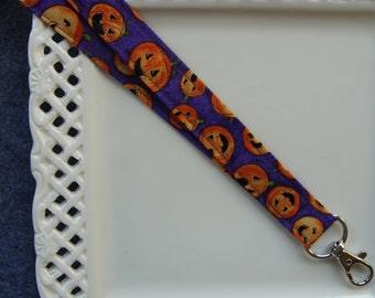 Fabric Lanyard ID - Pumpkin Holiday
