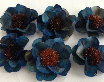 READY TO SHIP---Blue Thistle Roses-- Set of 6 Blue Himalayan Roses-Wedding Flowers