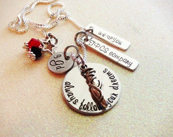 Custom Hand Stamped Dance Necklace, completely personalized, great for company or competition teams