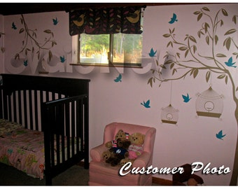 Garden Wall Decals  - Tree with Birdcage and Birds Chilidren Wall Stickers - TRGD010R