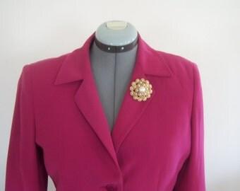 On Sale Vintage Pink Two Piece Jacket Skirt 10 Petite Fashion Wedding Bold Pink Polyester Dress Blazer Matching Skirt
