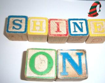 On Sale Vintage Children's Wooden Blocks Two Sizes (17) Piece Set  Online Vintage Children Blocks Message Blocks