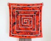 Maze furoshiki (cinnabar red) Japanese eco wrapping textile/scarf, handmade in Japan