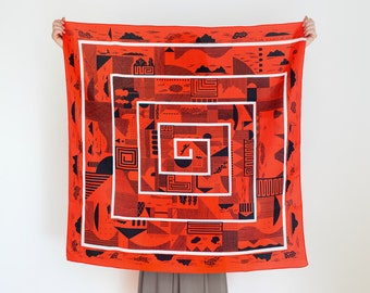 Maze furoshiki (cinnabar red) Japanese eco wrapping textile/scarf, handmade in Japan