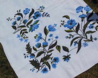 Blue Floral Terry Tablecloth, Large Size, by Winendur, Treasury Item