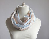 Pastel Linen Scarf, Long Circle Stripes Scarf, Infinity Thin Linen Scarf in Peach Blue Gray Taupe, PATCHWORK