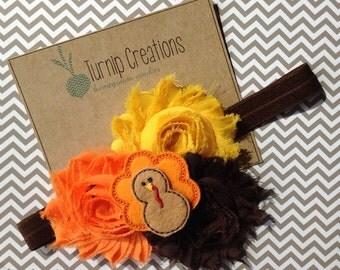 Turkey Headband Thanksgiving Shabby Flower Fall Autumn Brown, Orange polka dot Photo Prop