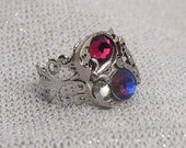 Steampunk Ring,Red & Blue Ring,Filagree Ring,Watch movement ring,Ready to ship.