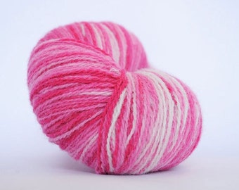 Kauni Wool Yarn, Self-Striping, Pink White Gradient, 2ply
