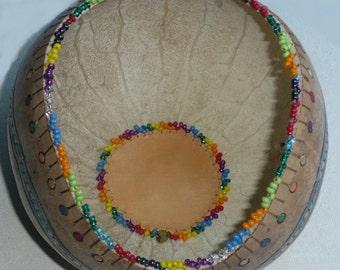 Rainbow Circles Gourd Bowl