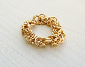Chunky gold ring. Byzantine ring. Gold chain ring. Chainmaille jewelry. Statement ring.
