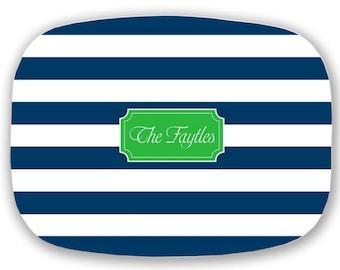 Personalized Platter, Stripes / Beach/ Nautical Platter, Custom Tray, Monogrammed Melamine Plate, Monogram Kitchen Gift, Hostess Gift
