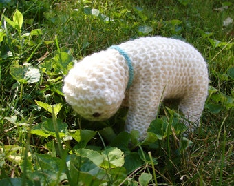 Waldorf Toy Knitted Lamb, White Wool - Blue - soft, natural toy sheep for baby or toddler ...adults love it too