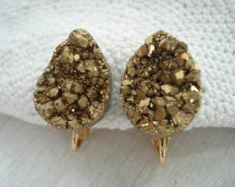 Gold Druzy Geode Crystal Agate Titanium Clip Earrings Teardrops