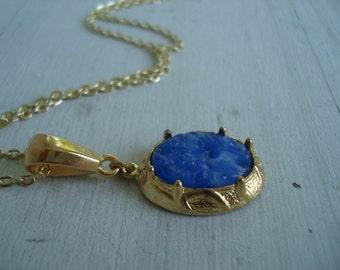 Vintage Blue Carved Jade Glass Pendant Gold Necklace