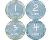 Baby Stickers Monthly, Boys Baby Bodysuit Stickers, Monthly Stickers, Baby Month Stickers, Monthly Bodysuit Stickers, Blue (B003)