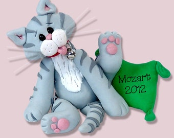 Grey Tabby  KITTY CAT HANDMADE Polymer Clay Personalized Christmas Ornament
