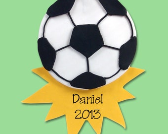 Soccer Ball Personalized Christmas Ornament - Handmade POLYMER CLAY - MATTE Finish