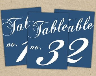 Table Numbers Printable Templates Instant Download - 4x6 Navy Blue, Modern, Wedding Reception, Party Decor, Classic DIY (1-10)