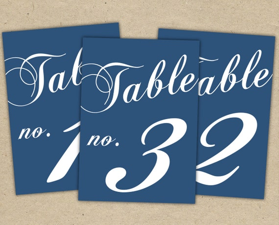 Instant Download - (5x7) Classic Table Numbers in NAVY - modern design DIY. Wedding reception (1-10)