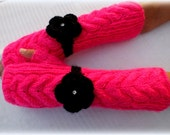 Fingerless Gloves, Hand Knitted Long Cuff Cable Gloves In Neon Pink Color With Black Flower