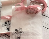 RESERVED for Charlotte - Minnie Mouse Glassine Favor Bags & Tags - 4 1/2 x 6 3/4