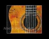 Yellow Guitar  print 8x10 matted into 11x14 mat - closeup of yellow guitar