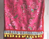 Girl long scarf - Pink Birds & Butterfly   (ready to ship)