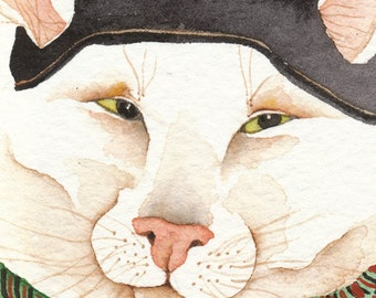 Maxine's Beret  CAT ACEO -  PRINT watercolor giclee whimsical  - Free Shipping