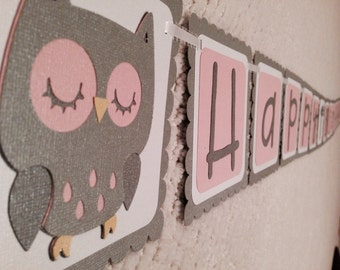 OWL Happy Birthday Banner Made to Order