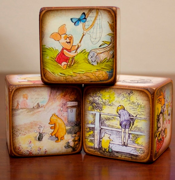 winnie the pooh 2 inch wood block set. Black Bedroom Furniture Sets. Home Design Ideas