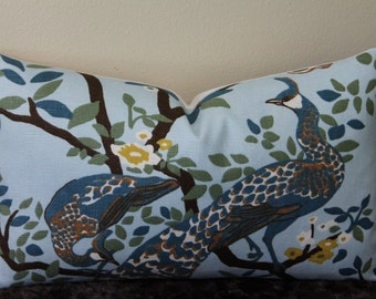 "Dwell Studio/Robert Allen Vintage Plumes in Jade - 12"" x 20"" Decorative Designer Lumbar Pillow Cover"