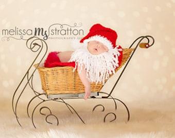 Newborn 0-3  baby christmas santa hat with beard crochet photo props photography  girl boy
