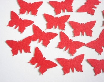 100 Valentine's Red Small Monarch Butterfly punch die cut embellishments - No680
