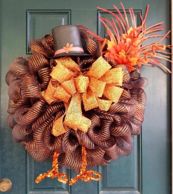 Decorating Ideas > Items Similar To Thanksgiving Turkey Mesh Wreath On Etsy ~ 070224_Thanksgiving Decorations On Etsy